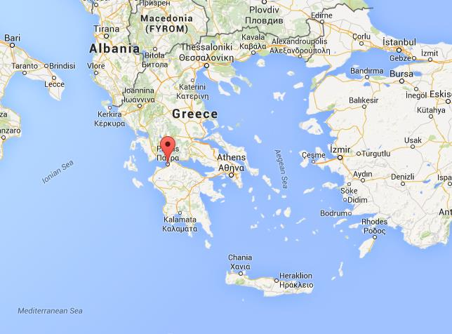 Where is Patras on map of Greece