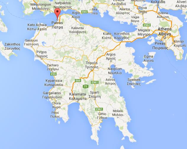Where is Patras on map of Peloponnese