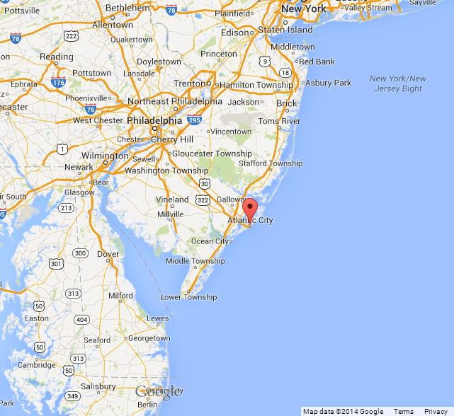 Map Of Atlantic City Nj Atlantic City on Map of New Jersey