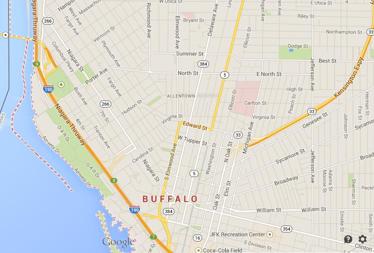 Map of Buffalo Downtown World Easy Guides