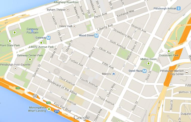 Map of Pittsburgh Downtown Center Downtown Pittsburgh Hotels Map on