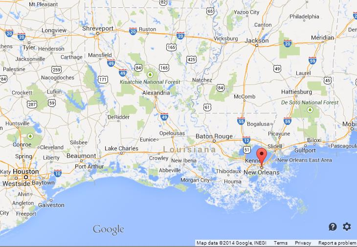 New Orleans on Map of Louisiana