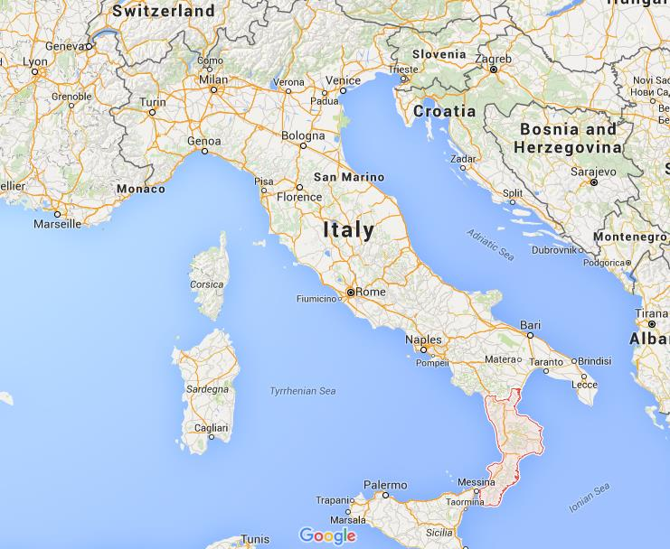 Where is Calabria on map Italy