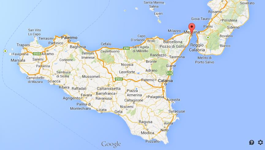Where is Messina on map of Sicily