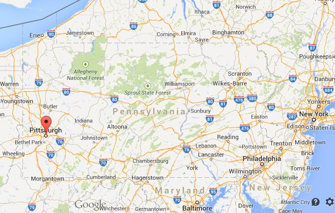 Where is Pittsburgh on map of Pennsylvania World Easy Guides