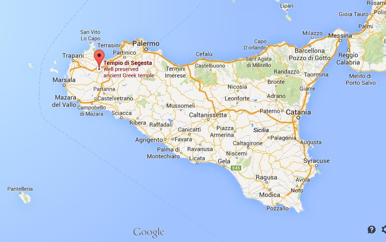 Where is Temple Segesta on map of Sicily