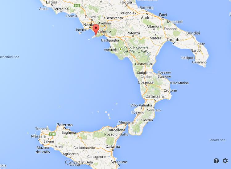 where is Positano map Italy south