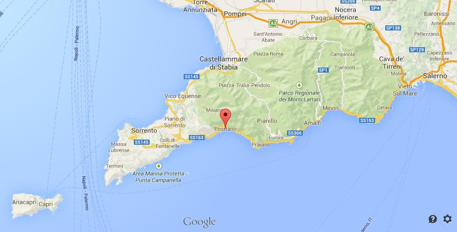 Where Is Positano On Map Amalfi Coast