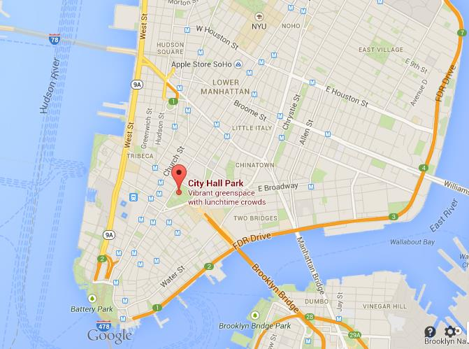 Where is City Hall on map of Lower Manhattan on