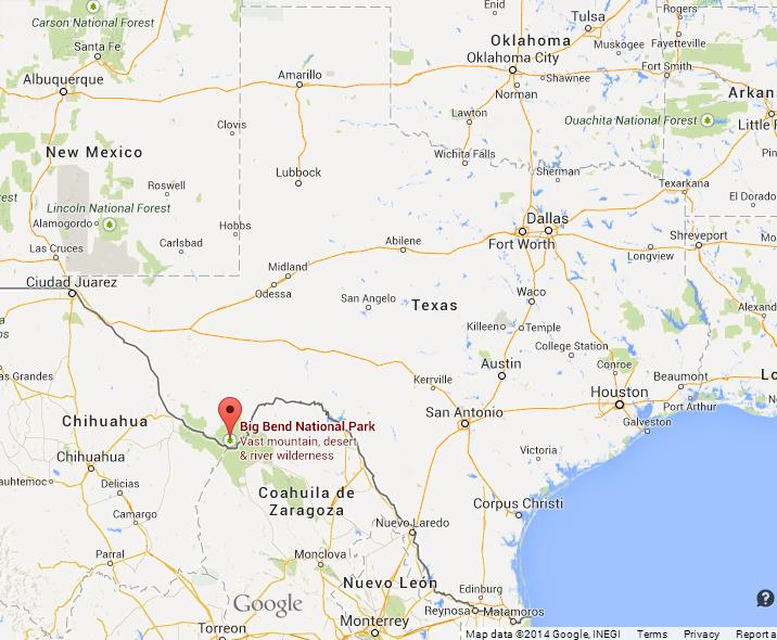 Big Bend National Park on Map of Texas