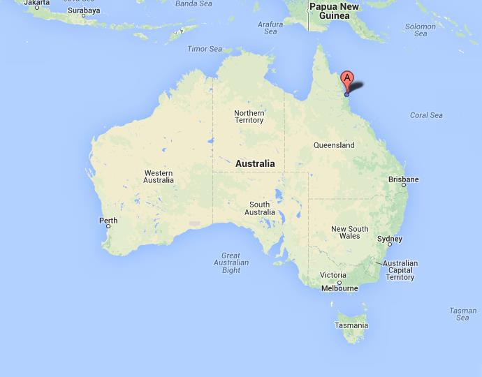 Cairns on Map of Australia