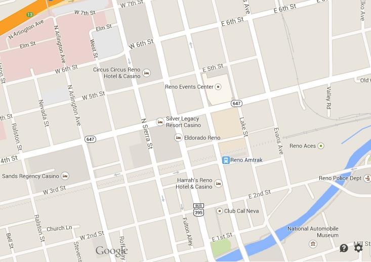 Map of Reno Downtown Downtown Reno Map on