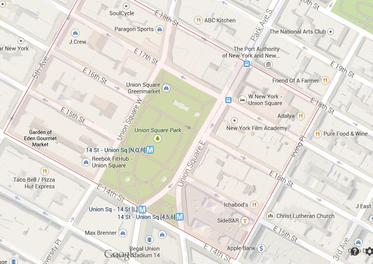 Map of Union Square NYC