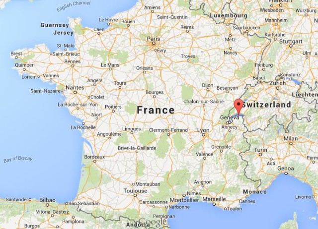 Where is Evian on map of France