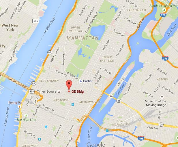 Where is G E Building on NY map