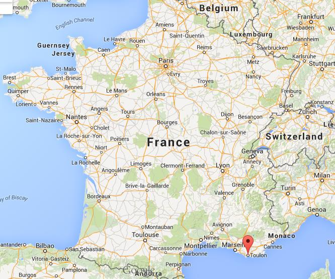 Where is Toulon on map of France