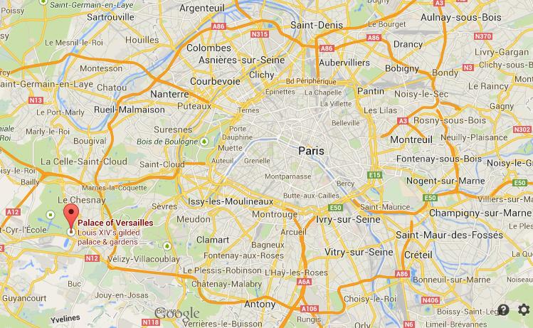 where is versailles on map of paris