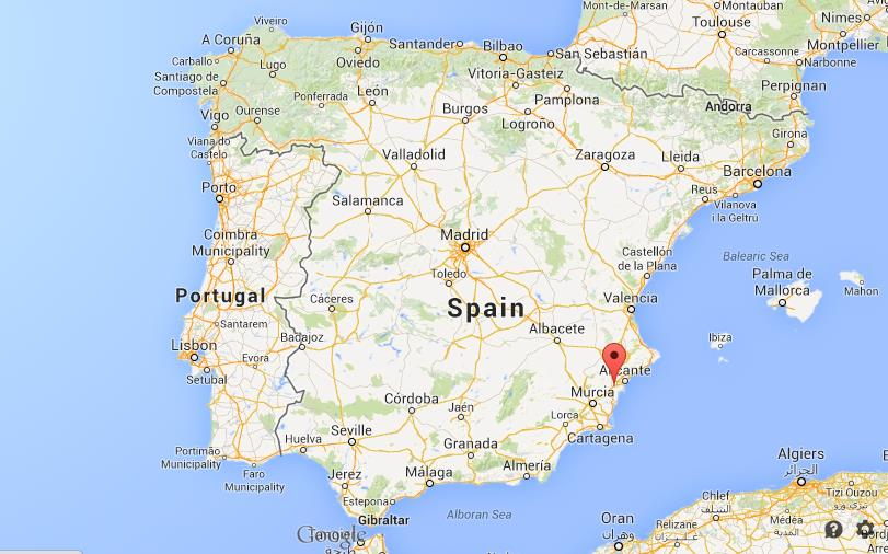 Where is Elche on map of Spain