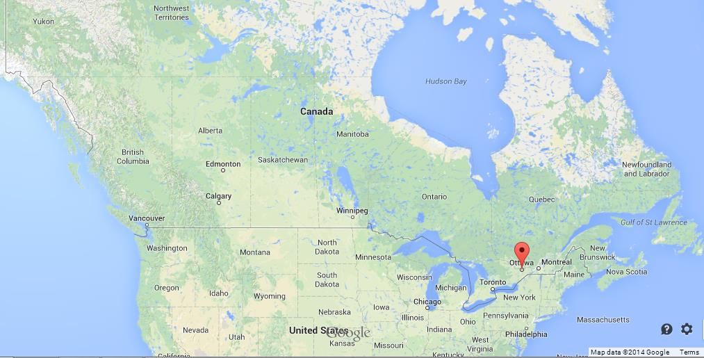 ottawa on map of canada