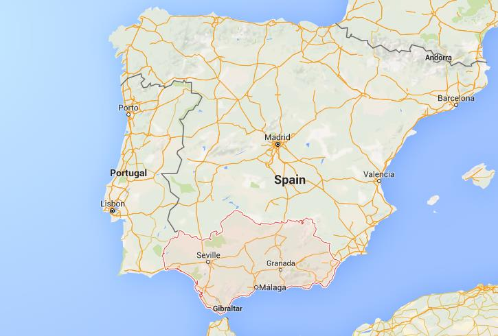 Where is Andalusia on map Spain
