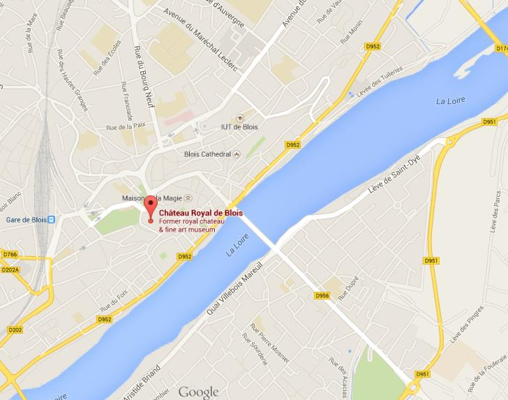 Where is castle on map of Blois World Easy Guides