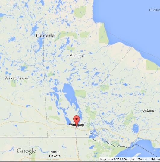 Winnipeg on Map of Manitoba