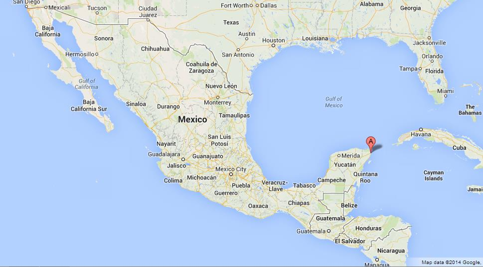 Cancun on Map of Mexico on