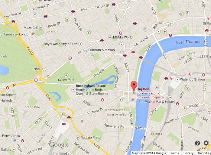 big ben on map of london