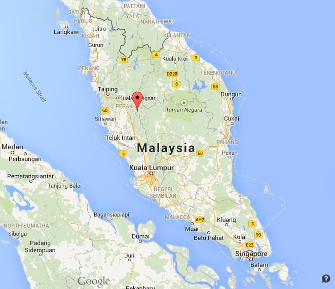 Cameron Highlands on map of Malaysia