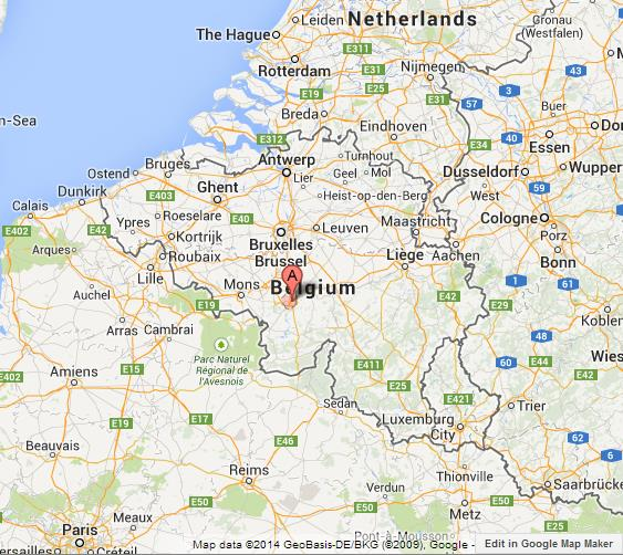 Charleroi on Map of Belgium World Easy Guides