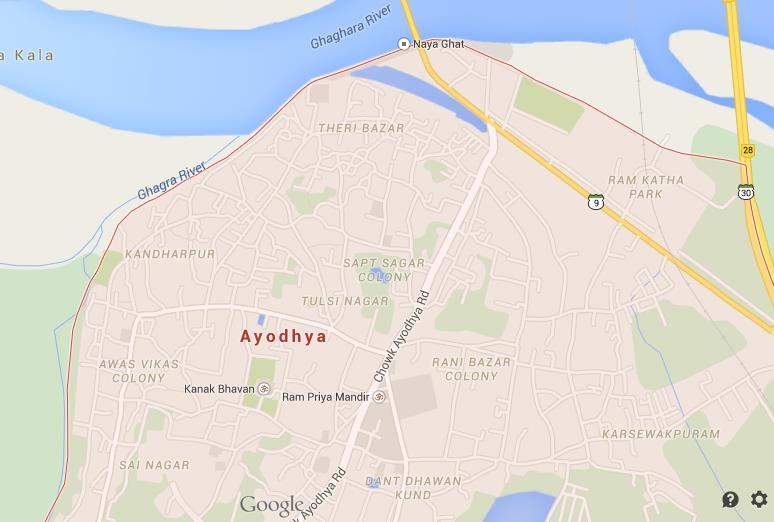 Ayodhya In India Map.Map Of Ayodhya