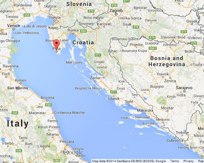 Pula on map of croatia gumiabroncs Images