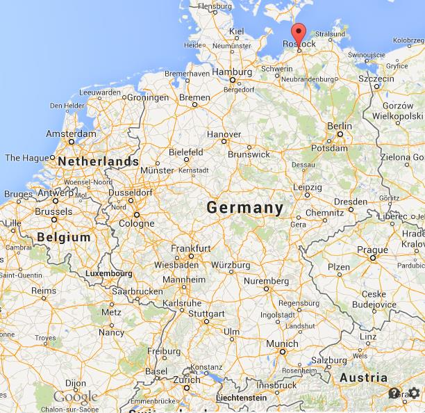 Rostock on map of Germany