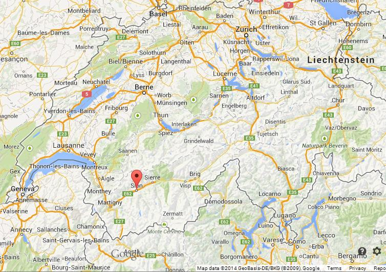 Sion on Map of Switzerland World Easy Guides