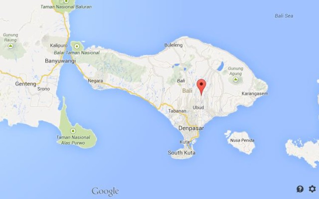 Where is Tegalalang on map of Bali