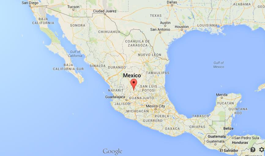 Where is Aguascalientes on map of Mexico
