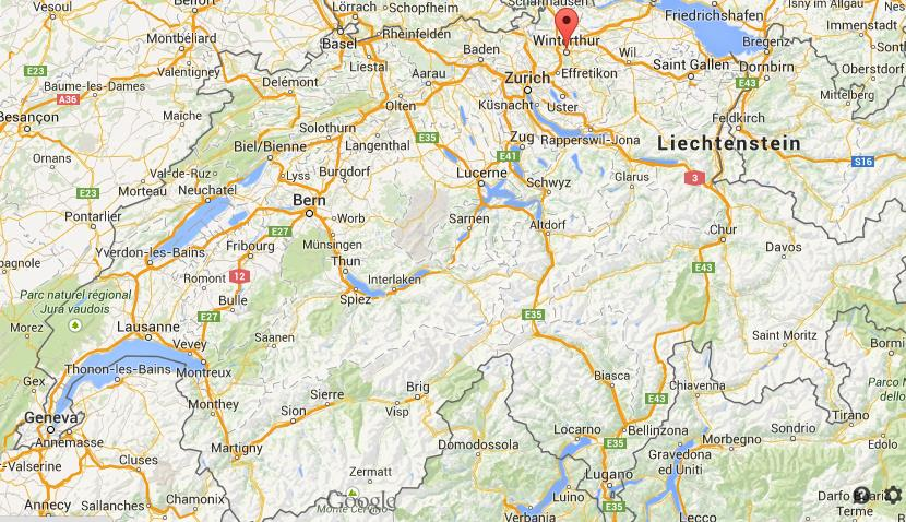 Where is Winterthur map Switzerland