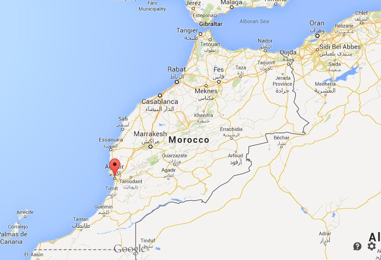 Agadir on map of Morocco World Easy Guides