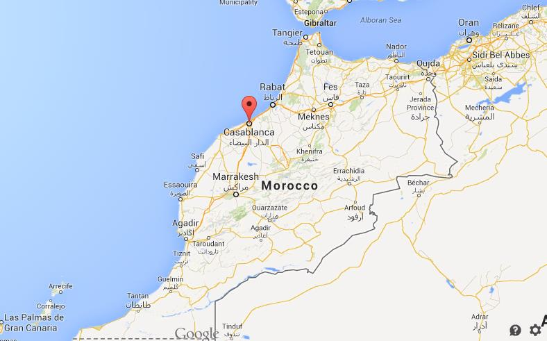 Casablanca on map of Morocco