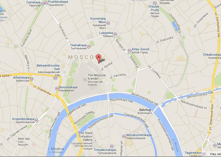 GUM on Map of Moscow