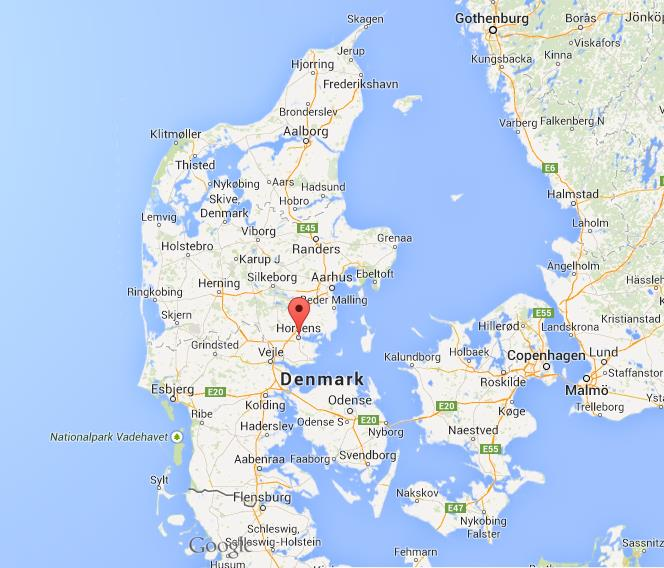 Horsens on map of Denmark World Easy Guides