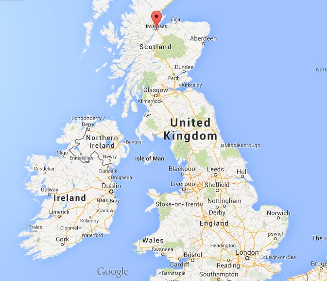 Inverness on map of UK World Easy Guides