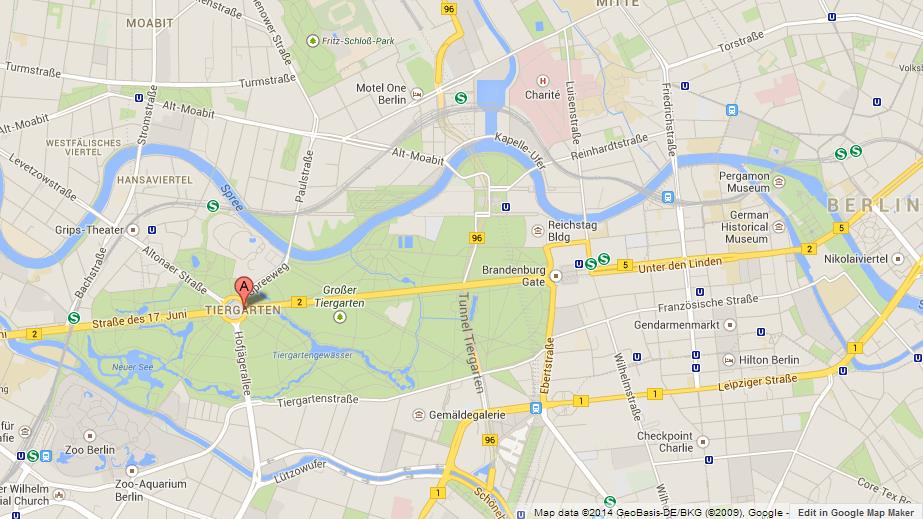 Tiergarten on Map of Berlin