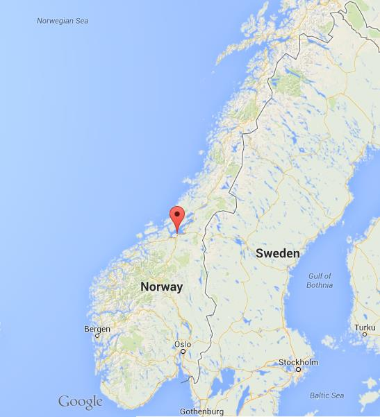 Trondheim on map of Norway