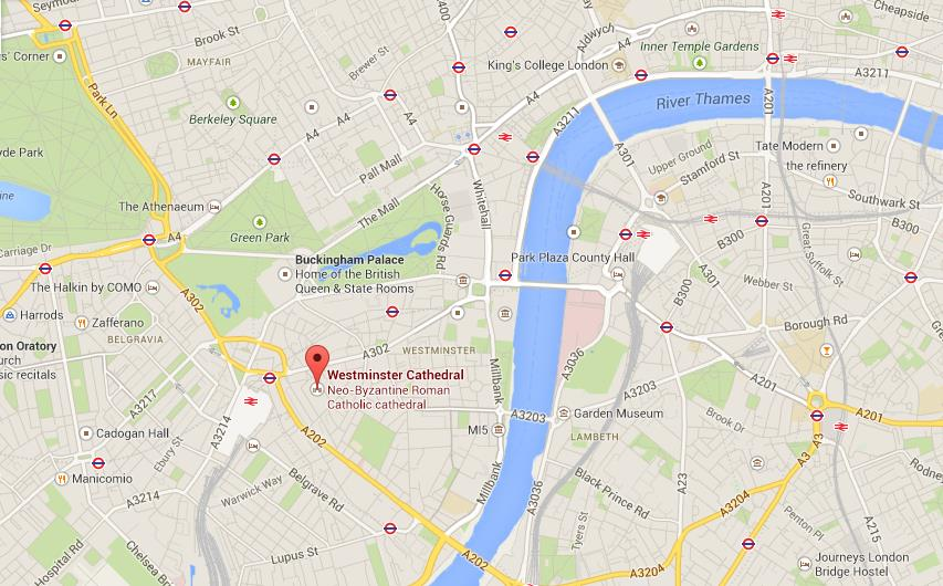 Easy London Map.Westminster Cathedral On Map Of London