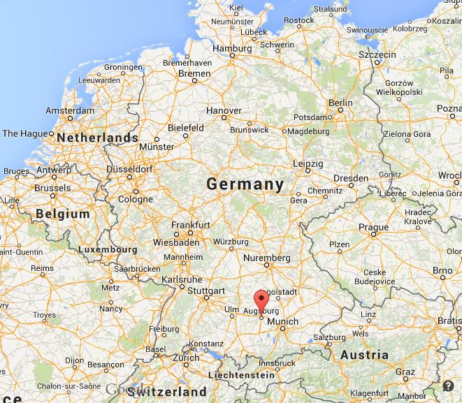where is augsburg on map germany