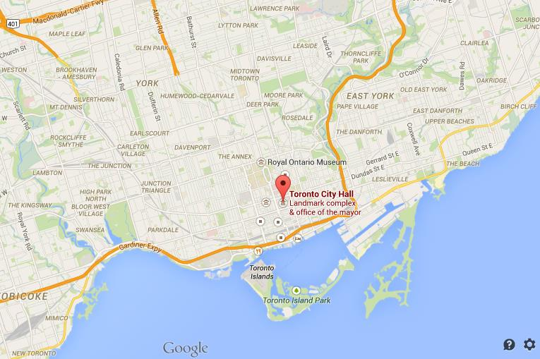 Where is City Hall on map of Toronto