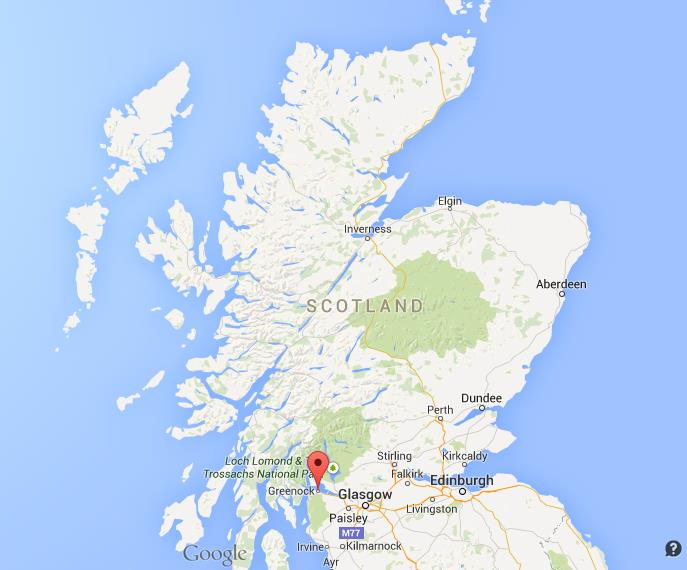 Where is Greenock on map Scotland