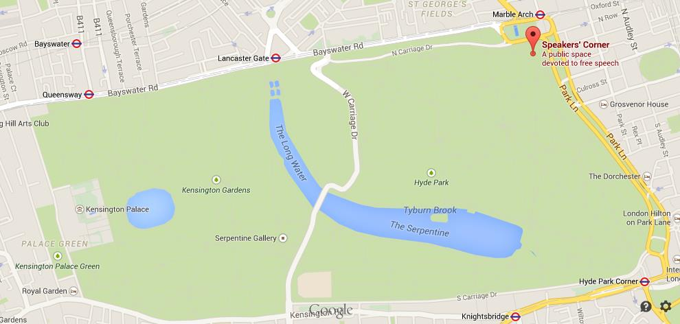 Where is Speakers Corner on map Hyde Park World Easy Guides