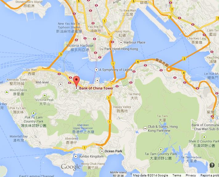 Bank of china tower on map of hong kong gumiabroncs Images